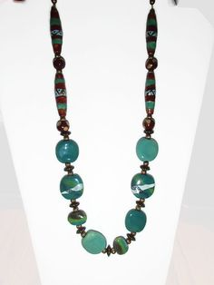 Kazuri Bead Necklace. Ethnic. African Fair Trade Beads. Handmade Beads. Longer Length Necklace. Statement. by riversedgecreations. Explore more products on http://riversedgecreations.etsy.com