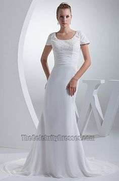 Sheath / Column Cap Sleeves Chapel Train Wedding Dresses