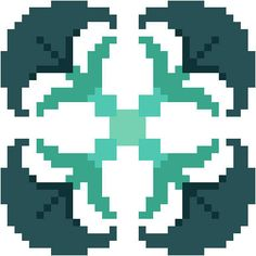 Grey blue and blue green floral cross stitch pattern. Modern