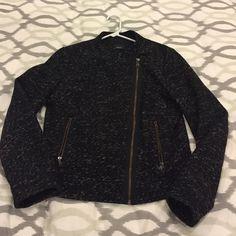 Gap asymmetrical zip black jacket Gap asymmetrical zip black jacket - tweed-like textures material - size small - great used condition GAP Jackets & Coats Utility Jackets