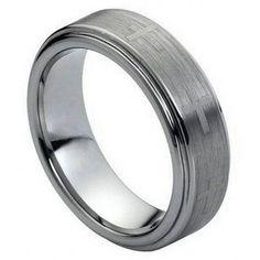 7mm Tungsten Men Women Wedding Band Ring Laser Engraved Crosses Brushed Center