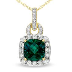Cushion-Cut Lab-Created Emerald Frame Pendant in 10K Gold with White Sapphire and Diamond Accents