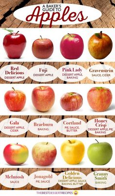 A Baker's Guide to Apples | Ever wonder what apples are best for what recipes? Learn which apples you should use when making apple pie or other apple desserts and which apples to use in sauces!: