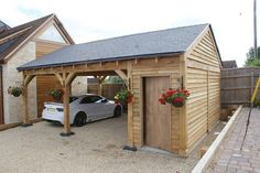 Oak double bay garage with side store decorating ideas for 2 bay carport