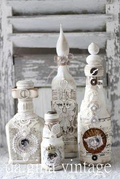 Vintage Deko - Sahbby ♦ romantisches Deko Flaschen-Set ♦ - ein Designerstück von da-gina bei DaWanda