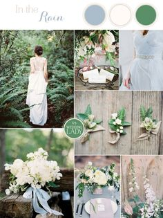 Ivory, Green, and Spring Blue Wedding Palette Inspired by a Garden in the Rain | http://heyweddinglady.com/9-ethereal-wedding-palettes-spring/