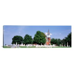 """East Urban Home Panoramic Cemetery in front of a Church, Clynmalira Methodist Cemetery, Baltimore, Maryland Photographic Print on Canvas Size: 20"""" ..."""
