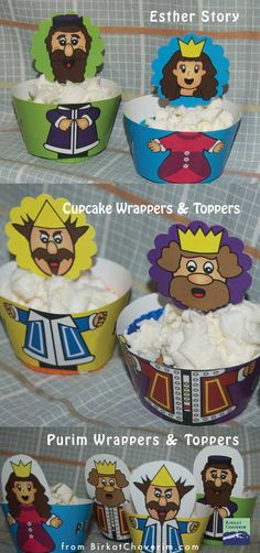 Esther story/Purim character cupcake wrappers from Birkat Chaverim.