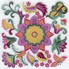 Machine Embroidery Designs at Embroidery Library! Bordado Jacobean, Jacobean Embroidery, Silk Ribbon Embroidery, Floral Embroidery, Embroidery Stitches, Embroidery Patterns, Hand Embroidery, Free Machine Embroidery Designs, Embroidery Techniques