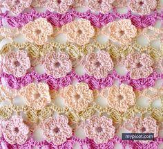 Learn A New Crochet Stitch: 5 Petal Flowers Crochet Stitch