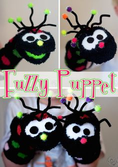 The Fuzzy Puppet. Free tutorial on how to make cute and easy muppet like sock puppets.