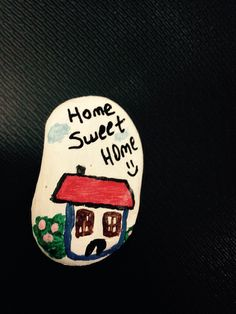 Stone painting home sweet home magnet tas boyama