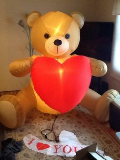Airblown Inflatable Christmas Valentines Day Teddy Bear Brand New