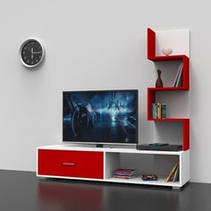 White-Red Wall Unit/TV stand with drawers Tv Unit Decor, Tv Wall Decor, Tv Cabinet Design, Tv Wall Design, Tv Unit Furniture Design, Tv Stand With Drawers, Tv Stand Decor, Modern Tv Wall Units, Living Room Tv Unit Designs