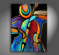 """30"""" X 40"""" Original Acrylic Painting Abstract Music Jazz Bass Player by Mike Daneshi- Free Shipping Within U.S.A."""