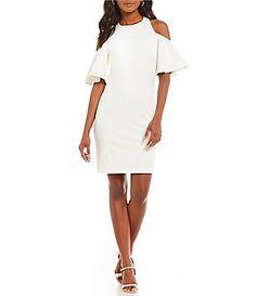 459fdadacb204 H Halston Cold Shoulder Ruffle Sleeve Sheath Dress Casual Dresses For  Women