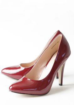 Rosemary Pumps In Wine 36.99 at shopruche.com. Finished in a faux patent leather, these classic wine-hued pumps feature a subtly pointed upturned toe. Pair these elegant heels with any outfit for instant sophistication.3.75