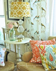 Bird print on the curtains made from tablecloths from Target - perfect  the lamp too