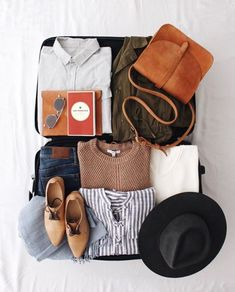 Fashion flatlay, packing tips, travel packing, weekend packing, travel Travel Flatlay, Fashion Flatlay, Photo Pour Instagram, Weekend Packing, New Darlings, Best Mens Fashion, Brown Bags, Fall Shoes, Brown Sweater