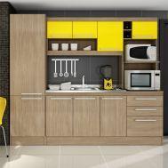 Cozinha Compacta Sevilha 210 Carvalho/Amarelo - Gralar