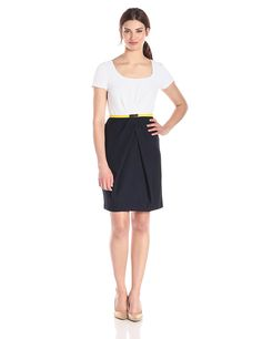 Jones New York Women's Short-Sleeve Pleated Color-Block Dress >>> Click image to review more details.