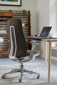 Enjoy total back support with a customized feel. The intuitive Fern office chair takes its comfort cues from you. The innovative spine structure and patented suspension provide complete support for your back—from your neck down to those sweatpants you live in. There's no hard outer frame or edges to get in the way of your comfort as Fern twists, turns, and leans with you—not against you. Modern Home Offices, Modern Office Design, Modern Desk, Soft Flooring, Stylish Chairs, Twists, Fern, Indoor, Sweatpants