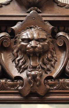 Extraordinary antique oak wood Napoleon III style fireplace with lion heads decoration