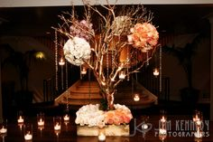 Love this gold manzanita branch for place cards.. Pearls hanging would be cute.