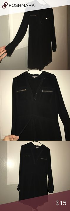 Long sleeve black dress Long sleeve black dress. Zippers and buttons plus a cute collar. Bought at a boutique only worn once. Dresses Long Sleeve
