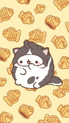 A mole in a catsuit! Cute Kawaii Drawings, Kawaii Doodles, Cute Doodles, Cute Cat Wallpaper, Kawaii Wallpaper, Glitter Wallpaper, Pink Wallpaper, Screen Wallpaper, Kawaii Cat