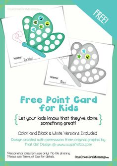 Free Point Card for Kids from OneCreativeMommy {Let your kids know when they've done something good!}  Stop by every month for a new design. Reading Incentives, Student Incentives, Potty Training Girls, Sticker Chart, Charts For Kids, Tot School, Sunday School, Music Lessons, Bible Lessons