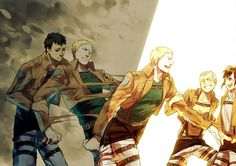 Shingeki no Kyojin, this is painful, reiner being pulled by sasha and connie into the light but into the darkness by bertholdt, feels