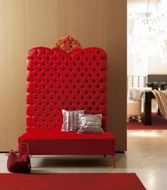 Tufted red sofa