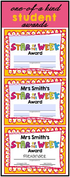 Add teacher name to the top of these awards to make customized class certificates! These become Mrs Smith's class awards! Great for behavior management ($)