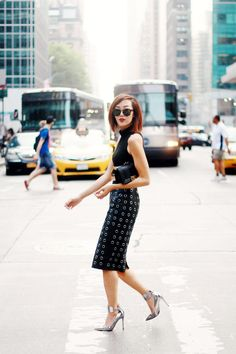 The beautiful @Chriselle Lim rocking her new haircut and this #BCBG top and skirt during #NYFW. Love this edgy look!