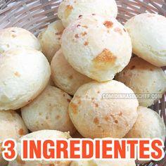 Aprenda agora mesmo como fazer pão de queijo 3 ingredientes com essa receita super fácil. Todo mundo sabe que pão de queijo é tipicamente mineiro