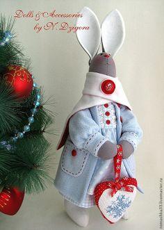 .Новогодний Тильда-заяц