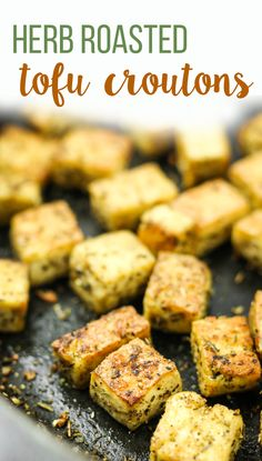 Herb Roasted Tofu Croutons – These are AMAZING for adding to salads. Nice and crispy! I've also made them to add to pasta, or as a quick snack. Great way to add protein. #vegan #caesarsalad #nutritionalyeast #dressing Seitan, Tempeh, Tofu Recipes, Whole Food Recipes, Vegetarian Recipes, Cooking Recipes, Dinner Recipes, Vegetarian Cooking, Cooking Tips
