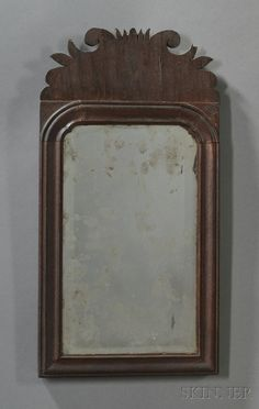 mirror probably new england mid 18th century with scrolled cresting - scrolling is beautiful