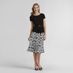 -Women's O-Ring Knit Top & Skirt Set