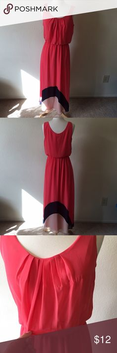 Pink Maxi Dress Pink and black and coral maxi dress. Size medium. Used, one pulled thread and some black marks on the top. Dresses Maxi
