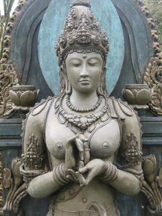 "Prajnaparamita is the feminine aspect of the Buddha.  She is known as the Mother of all Buddhas in Mahayana Buddhism.  Prajnaparamita symbolizes the perfection of Buddhist wisdom (enlightenment, awakening).  Here, Prajnaparamitra is shown doing the Dharmachakra mudra (gesture), symbolizing the turns of the ""wheel of law."""