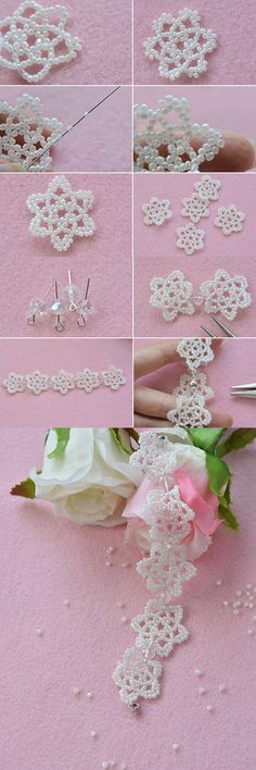 White beaded flower bracelet, like it? LC.Pandahall.com will publish the tutorial soon.                      #pandahall
