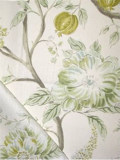"""Errington Meadow.  Sarah Richardson Design Fabric by Kravet. 100% linen vine of life print. Perfect for upholstery, pillow covers, top of the bed or drapery panels. 27"""" repeat, 15,000 double rubs. 54"""" wide. Made in U.S.A."""
