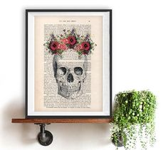 Skull Flower 04 (CS)  The genuine antique paper I use comes from 1900s original antique french book page.  The page is about 7.5 x 11.4 (19 x 29 cm).  Every creation is unique, you will receive the similar image but on a different page of the antique paper including the beauty signs