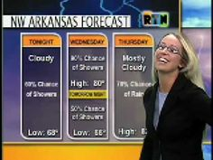 Weather girl loses her skirt on live TV. She doesn& know what happened right away. The crew is laughing.