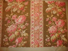 """Antique French Floral Fabric Early 1900 Tone on Tone Pinks, Cream, Khaki/Olive Green  20""""  by 12"""" AGAFF051 on Etsy, $34.00"""
