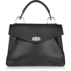 Proenza Schouler Handbags Medium Hava Black Smooth Leather Top Handle... (2,958 CAD) ❤ liked on Polyvore featuring bags, handbags, shoulder bags, black, leather hand bags, handbag purse, handbags shoulder bags, genuine leather handbags and leather man bags