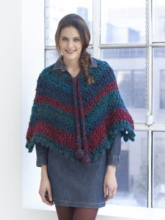 Free Crochet Pattern: V Shaped Poncho Lion Brand® Homespun®Thick & Quick® Pattern #: L30269