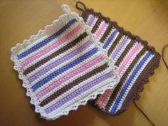 Crochet Hot Pads, Crochet Top, Crochet Potholders, Crochet Projects, Pot Holders, Crochet Patterns, Shabby Chic, Blanket, Knitting